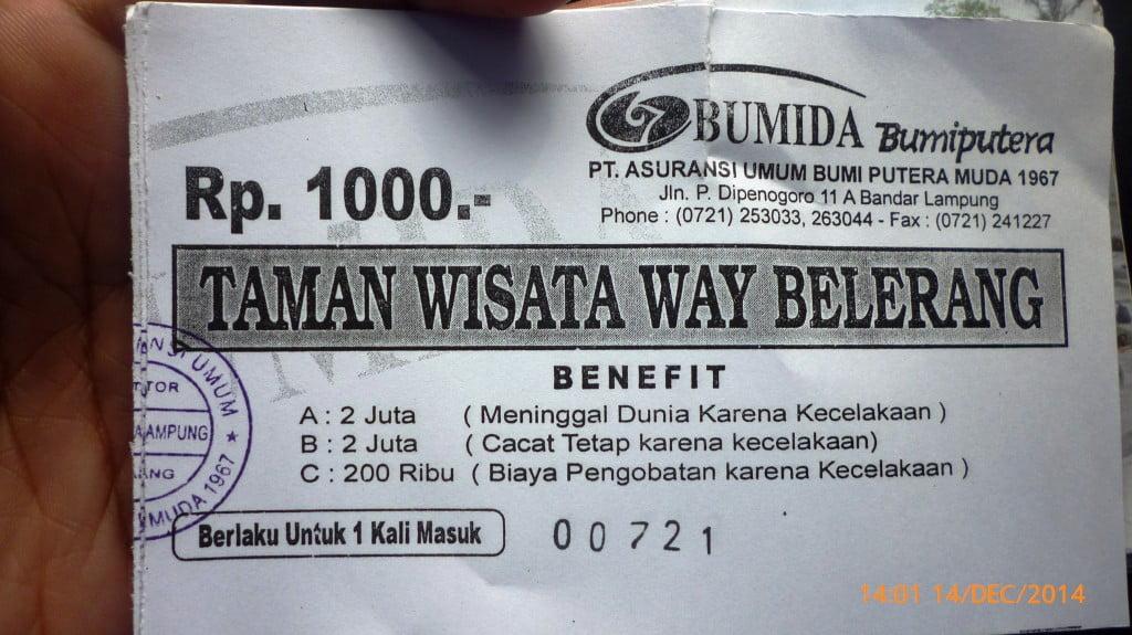 Tiket Asuransi Pengunjung Pemandian Air Panas Way Belerang Kalianda Lampung Selatan
