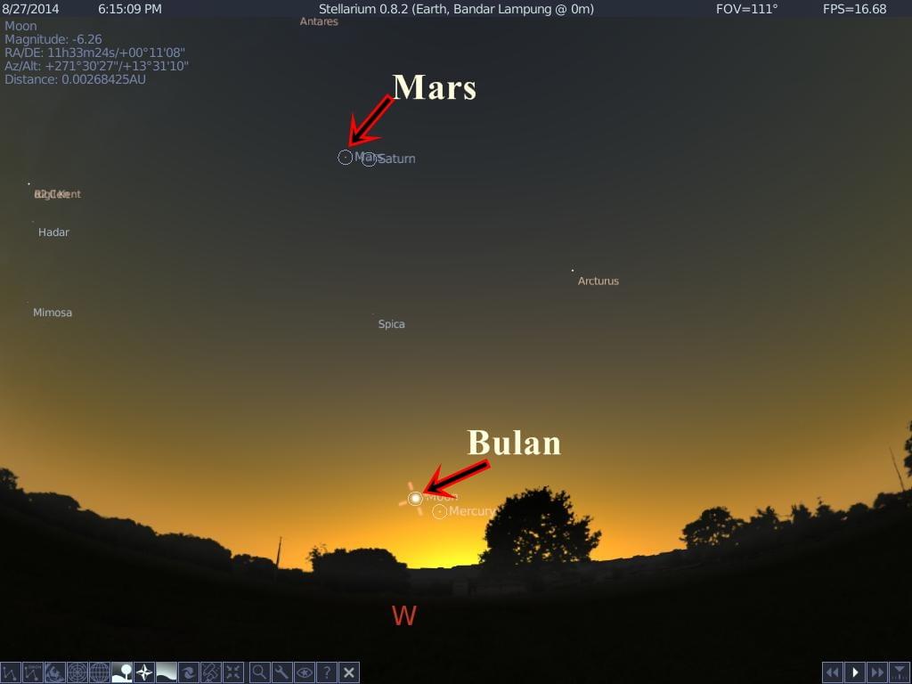 posisi bulan-mars