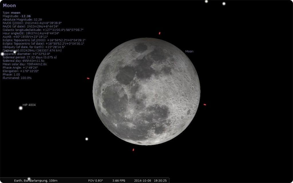 Penampakan bulan pada 8 oktober 2014 jam 19:30 WIB lokasi bandar lampung